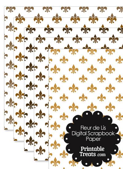 Brown Fleur de Lis Digital Scrapbook Paper from PrintableTreats.com
