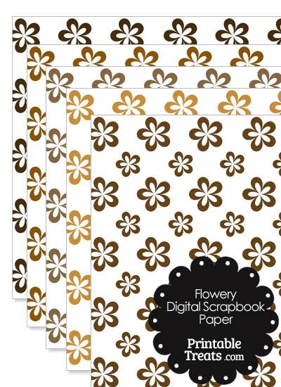 Brown Flower Digital Scrapbook Paper from PrintableTreats.com