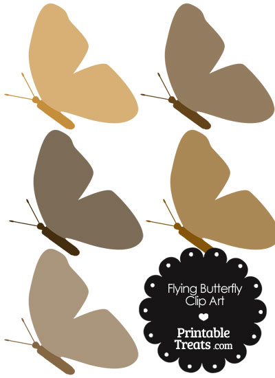 Brown Flying Butterfly Clipart from PrintableTreats.com