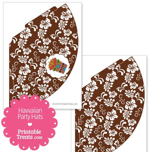 brown Hawaiian party hat printable