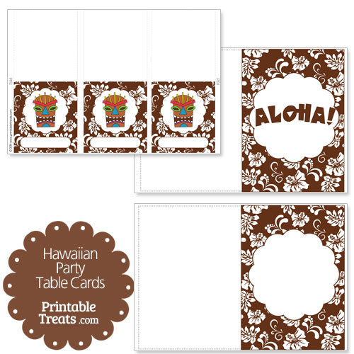 brown Hawaiian party table cards