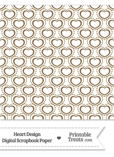 Brown Heart Design Digital Scrapbook Paper from PrintableTreats.com