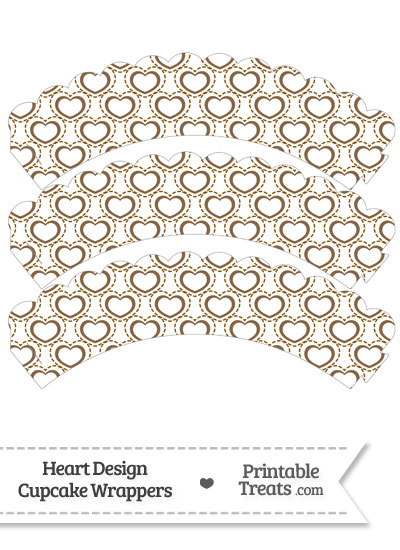 Brown Heart Design Scalloped Cupcake Wrappers from PrintableTreats.com