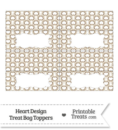 Brown Heart Design Treat Bag Toppers from PrintableTreats.com