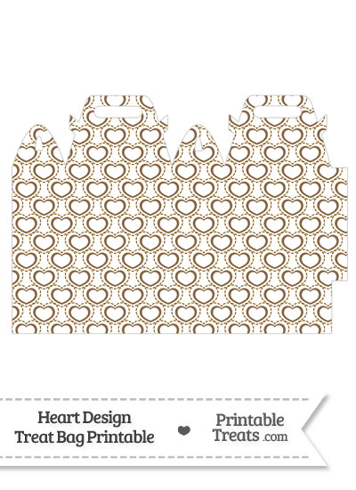 Brown Heart Design Treat Bag from PrintableTreats.com