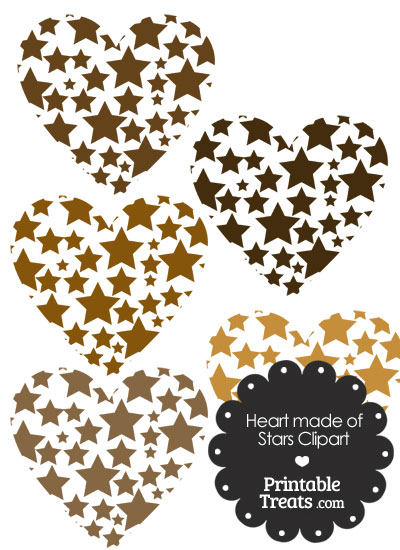 Brown Heart Made of Stars Clipart from PrintableTreats.com