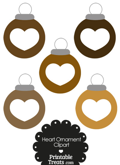 Brown Heart Ornament Clipart from PrintableTreats.com