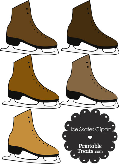 Brown Ice Skates Clipart from PrintableTreats.com