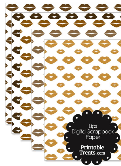 Brown Lips Digital Scrapbook Paper from PrintableTreats.com