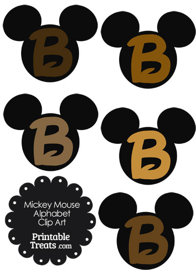 Brown Mickey Mouse Head Letter B Clipart from PrintableTreats.com