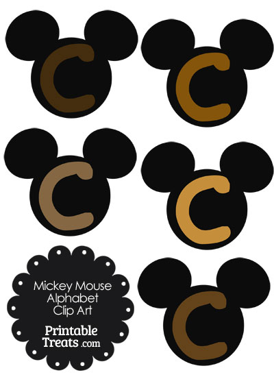 Brown Mickey Mouse Head Letter C Clipart from PrintableTreats.com