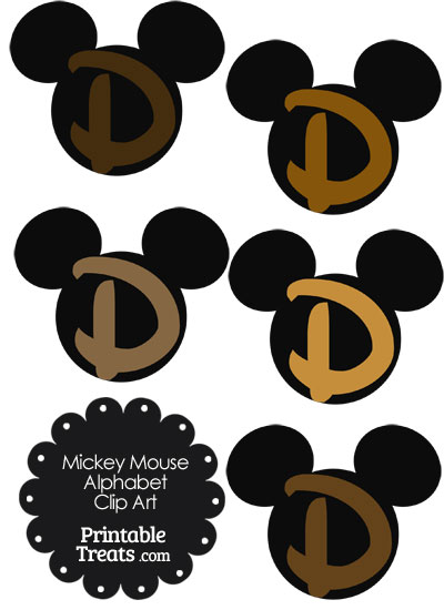 Brown Mickey Mouse Head Letter D Clipart from PrintableTreats.com