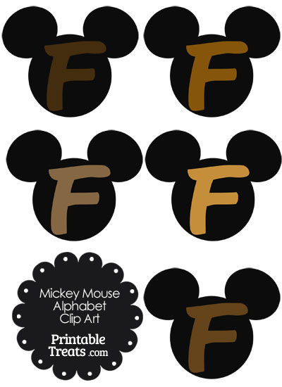 Brown Mickey Mouse Head Letter F Clipart from PrintableTreats.com