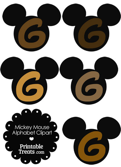 Brown Mickey Mouse Head Letter G Clipart from PrintableTreats.com