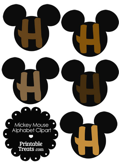Brown Mickey Mouse Head Letter H Clipart from PrintableTreats.com