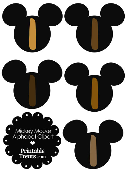 Brown Mickey Mouse Head Letter I Clipart from PrintableTreats.com