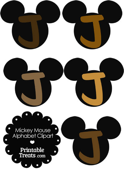 Brown Mickey Mouse Head Letter J Clipart from PrintableTreats.com