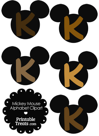 Brown Mickey Mouse Head Letter K Clipart from PrintableTreats.com
