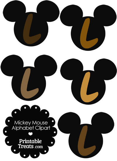 Brown Mickey Mouse Head Letter L Clipart from PrintableTreats.com