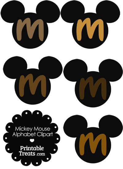 Brown Mickey Mouse Head Letter M Clipart from PrintableTreats.com