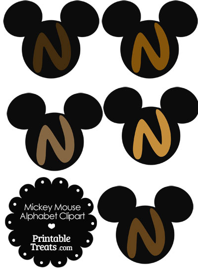 Brown Mickey Mouse Head Letter N Clipart from PrintableTreats.com