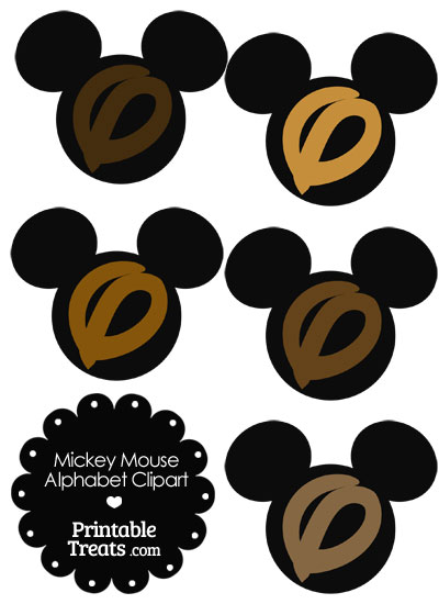 Brown Mickey Mouse Head Letter O Clipart from PrintableTreats.com