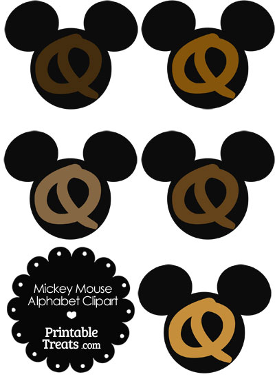 Brown Mickey Mouse Head Letter Q Clipart from PrintableTreats.com