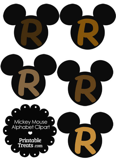 Brown Mickey Mouse Head Letter R Clipart from PrintableTreats.com