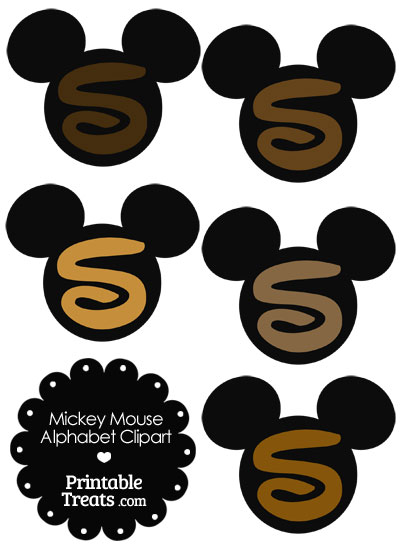 Brown Mickey Mouse Head Letter S Clipart from PrintableTreats.com