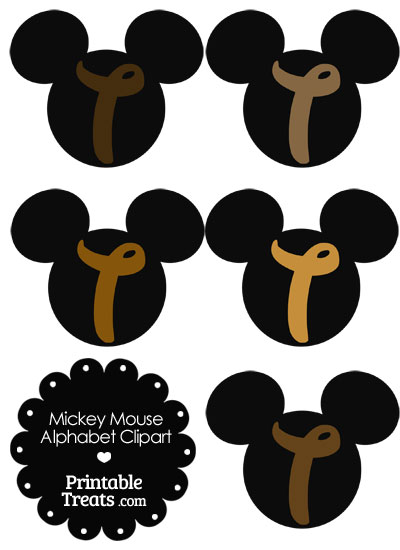 Brown Mickey Mouse Head Letter T Clipart from PrintableTreats.com