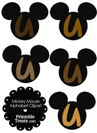 Brown Mickey Mouse Head Letter U Clipart from PrintableTreats.com