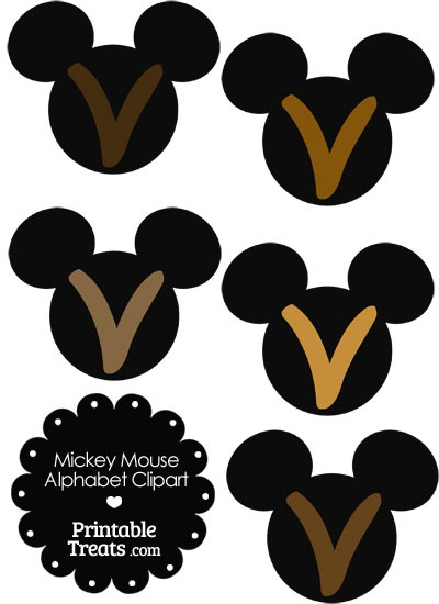 Brown Mickey Mouse Head Letter V Clipart from PrintableTreats.com