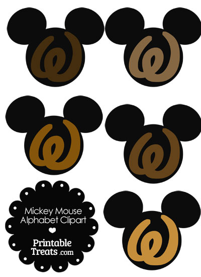 Brown Mickey Mouse Head Letter W Clipart from PrintableTreats.com