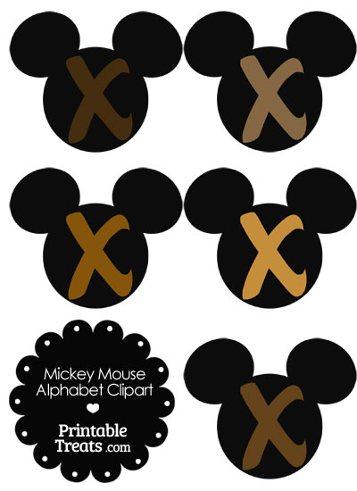 Brown Mickey Mouse Head Letter X Clipart from PrintableTreats.com