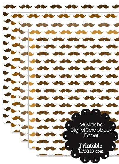Brown Mustache Digital Scrapbook Paper from PrintableTreats.com