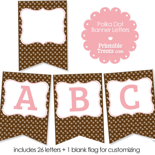 brown polka dot party banner letters