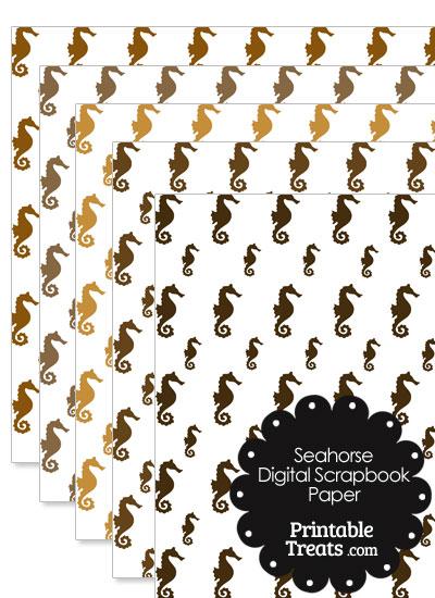 Brown Seahorse Digital Scrapbook Paper from PrintableTreats.com