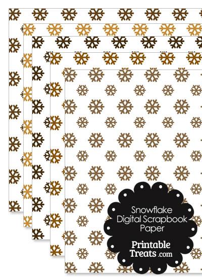 Brown Snowflake Digital Scrapbook Paper from PrintableTreats.com