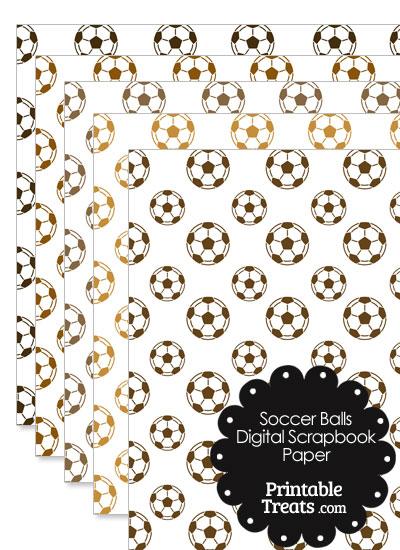 Brown Soccer Digital Scrapbook Paper from PrintableTreats.com