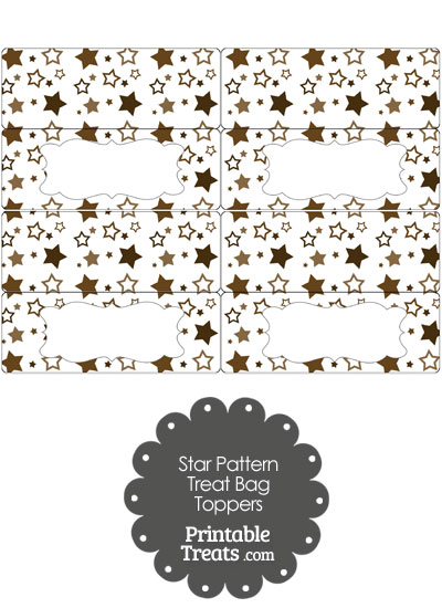Brown Star Pattern Treat Bag Toppers from PrintableTreats.com