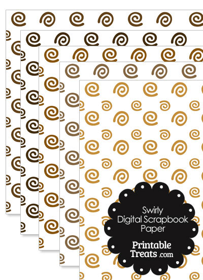 Brown Swirls Digital Scrapbook Paper from PrintableTreats.com