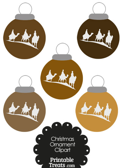 Brown Three Wise Men Christmas Ornament Clipart from PrintableTreats.com