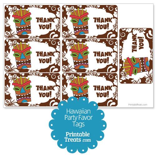 brown tiki mask party favor tags