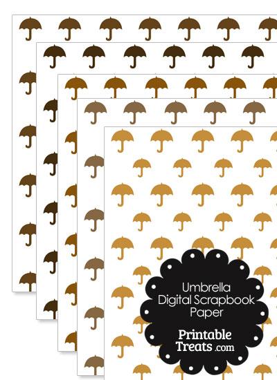 Brown Umbrella Digital Scrapbook Paper from PrintableTreats.com