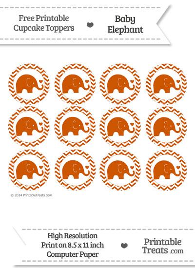 Burnt Orange Baby Elephant Chevron Cupcake Toppers from PrintableTreats.com