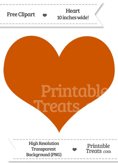 Burnt Orange Heart Clipart from PrintableTreats.com
