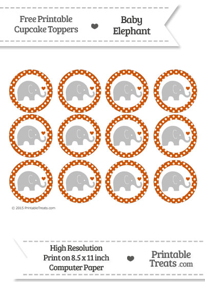 Burnt Orange Polka Dot Baby Elephant Cupcake Toppers from PrintableTreats.com