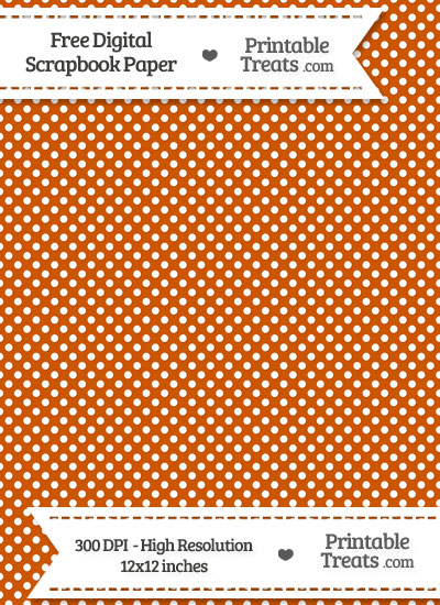 Burnt Orange Raised Mini Polka Dots Digital Paper from PrintableTreats.com