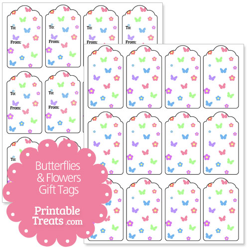 butterfly and flower gift tags