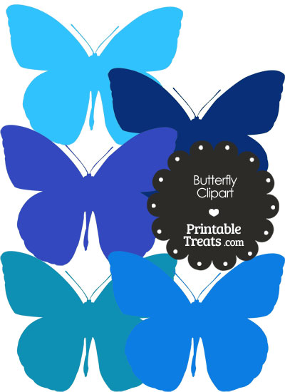 Butterfly Clipart in Shades of Blue from PrintableTreats.com